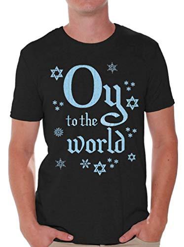 Awkward Styles Oy to The World Holiday Shirt for Men Funny Happy Hanukkah Tshirt Black 2XL