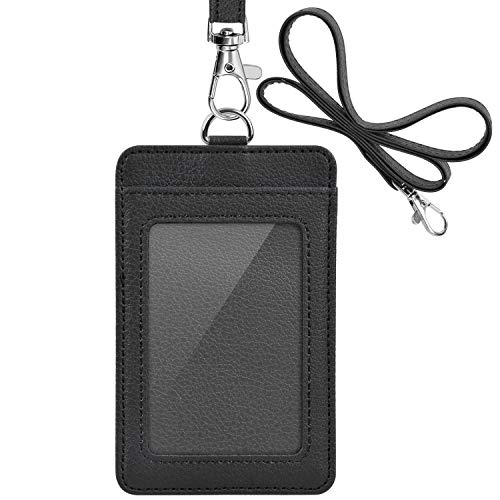 PU Leather ID Badge Holder, Life-Mate ID Badge Holder with 1 Clear ID Window 1 Credit Card Slot and PU Leather Lanyard for Badge Credit Cards College ID Cards in Black
