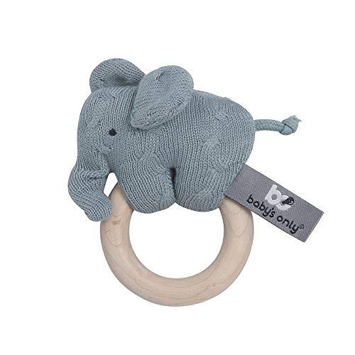 BO BABY'S ONLY - Baby Rassel Elefant - Babyspielzeug 0+ Monate - Aus Holz - Mit gestricktem Stofftier - Stonegreen