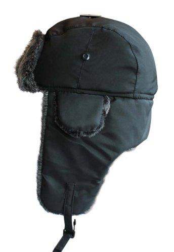 VIZ Chapeau de trappeur d'hiver imperméable avec bordure en fausse fourrure grise - Noir - 59 cm