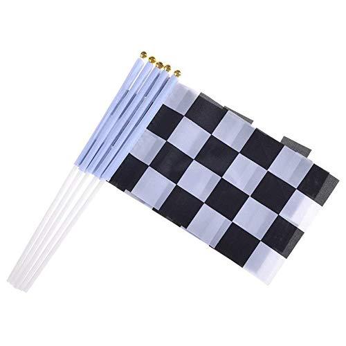 Kentop 10Pcs Zielflagge Rennflagge Schwarz Weiß Motorradsport Flaggen Formel 1 Racing Banner Racing Thema Party Dekoration