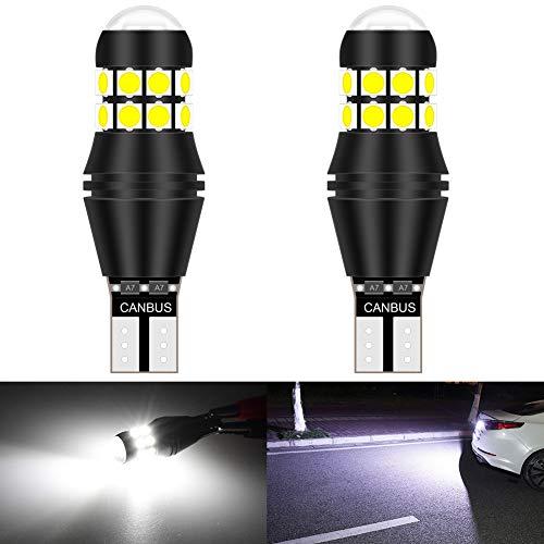 KaTur W16W 921 T15 912 Bombilla LED CANBUS sin Error no polaridad 6500K 3030 20SMD 12V 24V para Luces de Marcha atrás de la luz de estacionamiento de Respaldo del automóvil (2 Piezas, Blanco)