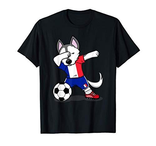 Funny Dabbing Husky Dog Francia Fútbol - Bandera francesa Camiseta