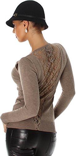 Jela Londen dames lange mouwen shirt trui kant strass applicatie net rug decolleté glitter strik (34/36/38)