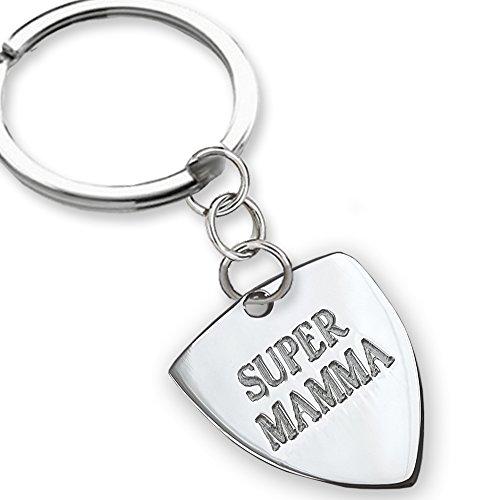 Llavero de plata con el texto en italiano «Super Mamma». Idea de regalo el día de la madre, regalo para las madres