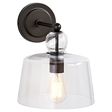 Stone & Beam Modern Gunmetal Sconce, with Bulb, Glass Shade