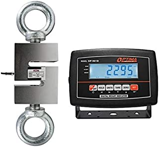 Optima Scales OP-926-3000 Digital Hanging Scale with High Precision Load Cell and Indicator, 3,000 lbs x 0.5 lb