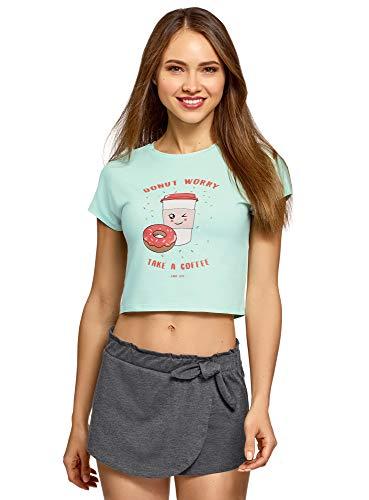 oodji Ultra Mujer Pijama de Algodón con Estampado, Verde, ES 42 / L