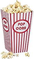 Relaxdays 48 popcornväskor, randig, amerikansk retrostil – filmnatttillbehör, festtillbehör, kartong, röd/vit