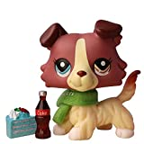 PowerToy lps Collie 1262, Collectable lps Dog Red and Tan Body Two Different Eyes Collie with lps Accessories Drink Scraf Kids Gift