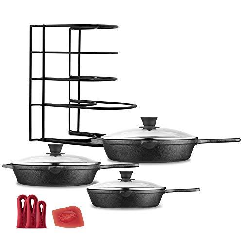 "Cast Iron Skillet Set - 8""+10""+12"" + Glass Lids - Pre-Seasoned Oven Safe Cookware Kit - Bonus: 3-Heat-Resistant Silicone Holders + Pan Organizer + Scraper - Grill, Stovetop, Induction Safe"
