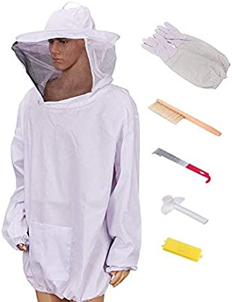 Beekeeping Jacket with Veil Beekeeper Jacket and Veil with Gloves, Beehive Tools and Beehive Brush (Extra Large)