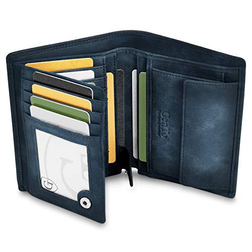 GenTo® Dublin Geldbörse mit Münzfach - TÜV geprüfter RFID, NFC Schutz - geräumiges Portemonnaie - Geldbeutel für Herren und Damen - Portmonaise inkl. Geschenkbox (Marineblau - Soft)