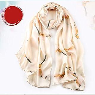 Women Silk Scarf Ladies Neck Wear Silk Satin Shawl & Wraps Floral Printing Retro Pattern Long Towel Thin Satin Scarf Yellow red Pink