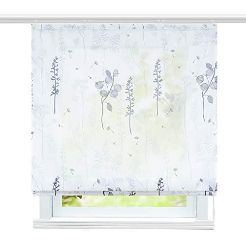 ESLIR Raffrollo mit Klettband Wohnzimmer Raffgardine Voile Gardinen Modern Bändchenrollo Vorhänge Laternenblume Muster Grau BxH 100x140cm 1 Stück