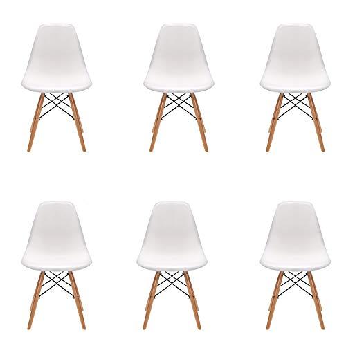 Pack 6 sillas de Comedor Silla diseño nórdico Retro Estilo (Blanco-Pack 6)