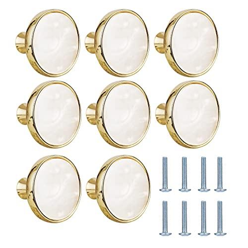 HighlyKing 8 Pomelli per Cassetti, Pomelli per Mobili, in Lega di Zinco da 32 mm, in Fritillary bianca, per Armadio, Maniglie per Mobili (8 pezzi, dorati)