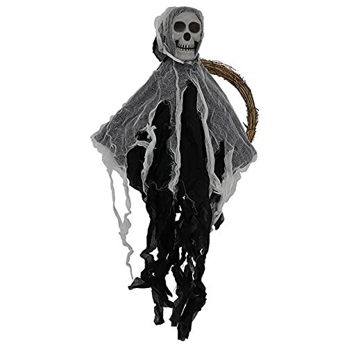 Harilla Fantasma de Guirnalda Colgante de Halloween, Fantasma de Terror de Calavera Colgante para decoración de Entrada de casa embrujada, Accesorios de