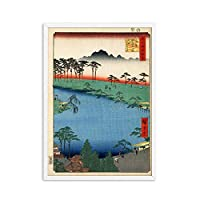 BGGGTD ポスター ヴィンテージ日本の風景ポスタープリント波神奈川アートキャンバス絵画壁画リビングルームオリエンタル家の装飾壁画-50x70cmx1フレームなし