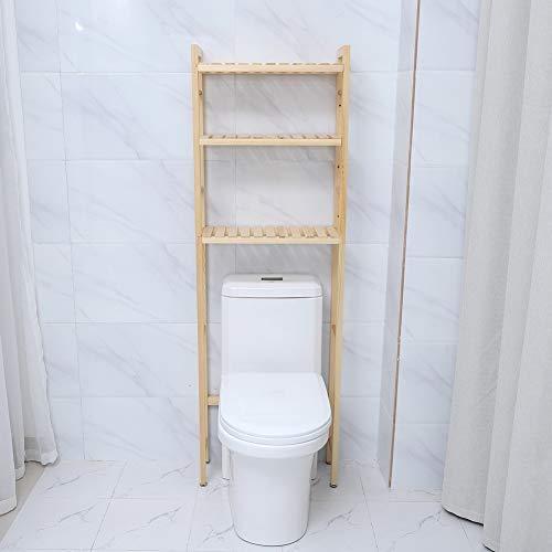 EBTOOLS Estantería de Baño Sobre Inodoro, Estante WC Madera 3 Niveles Organizador Almacenamiento Compacto Encima del Inodoro Baño, 50x20x154 cm