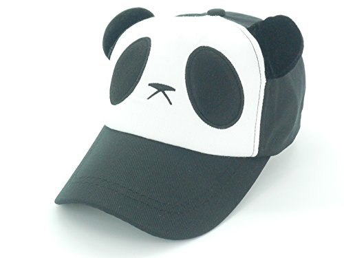 Oidon Panda Pattern Cartoon Cotton Baseball Hats Caps (Child 49-56cm 19.3-22.0inch, Black)