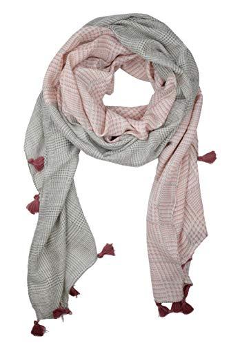 GoFashion Damen SCHAL Schultertuch Karo Hahnentritt Fransen blau rosa rot senf CO045S9504 (Rosa)