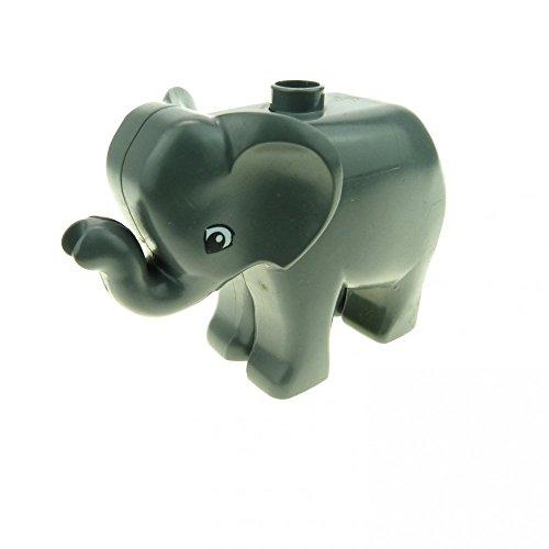 1 x Lego Duplo Tier Baby Elefant neu-dunkel grau Augen neue Form Zirkus Zoo Bauernhof Safari elephc01pb02