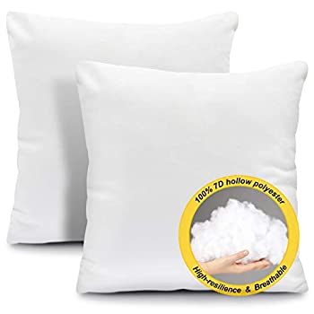 Fixwal 18x18 Throw Pillow Inserts for Couch 2 Packs Pillow Inserts Decorative Pillows for Bed Living Room  White
