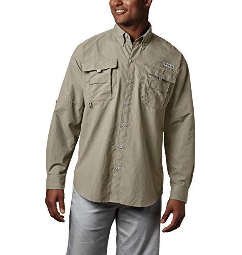 Columbia Mens PFG Bahama II Long Sleeve Shirt , Fossil, Large