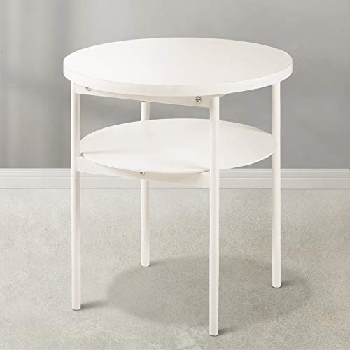 Mellow Round Multipurpose End & Side Table, Steel, Composite Wood, Beige