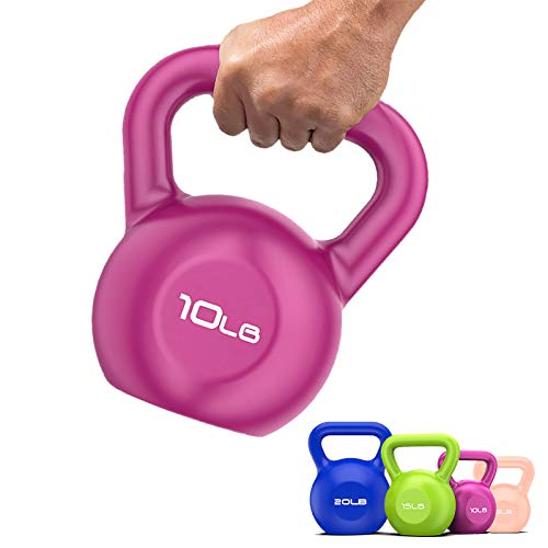 Kettlebell Weight Sets 10lb Exercise Strength Weight Training Kettlebell Weight for Workout Home Gym Weightlifting Full Body Building Fitness for Women Men Adults (PURPLE 10LB)