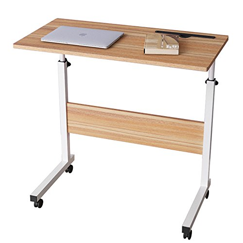 DlandHome 31.4 Inches Large Size Mobile Side Table, Adjustable Movable w/ Tablet Slot & Wheels, Portable Laptop Stand for Bed Sofa, 05#3-80O Oak