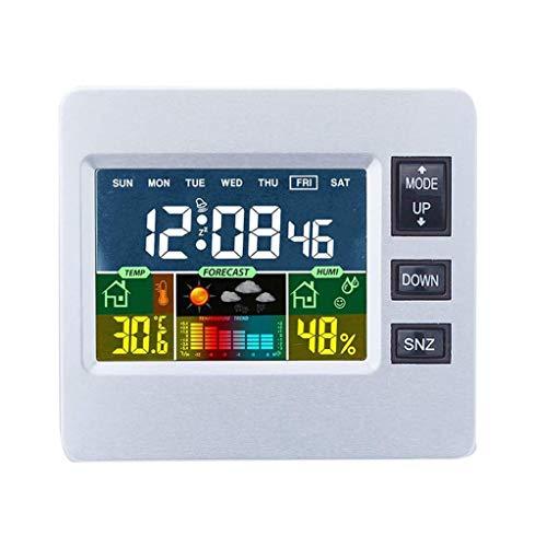 WYZQ Termómetro Digital LCD Higrómetro Termómetro LCD Colorido Reloj Alarma Función de repetición Calendario Pronóstico del Tiempo Estación meteorológica, Relojes