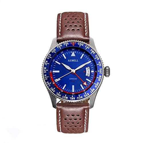 Axwell Arrow Reloj de banda de cuero w/Date, Marrón/Plata/Azul/Blanco SKU: AXWAW102-2,