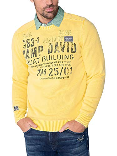 Camp David Herren Stone Washed Pullover mit Artwork