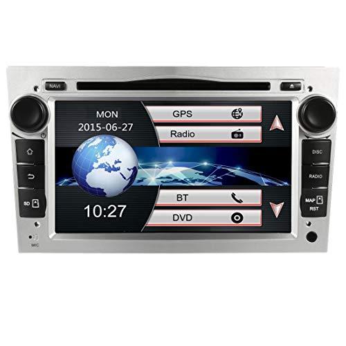Autoradio 7 Pollici Stereo 2 Din Auto Radio per Opel Vauxhall Corsa Astra Zafira Antara con Navigatore GPS Bluetooth CD DVD Touch Screen Video USB EU Map SD Card+Telecamera inversa (Argento-W)