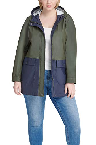 Levi's Ladies Outerwear Women's Plus Midlength Rubberized PU Rain Jacket (Standard & Plus Sizes), Army Green/Navy, 3X