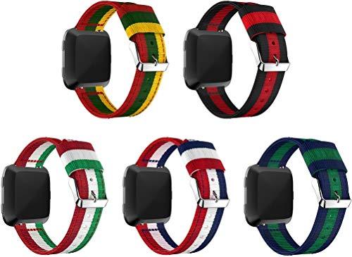 Nylon Trenzado Correa de Reloj Compatible con Fitbit Versa, Clásicos exquisitos Pulseras de la Correa de los Hombres (5PCS C)
