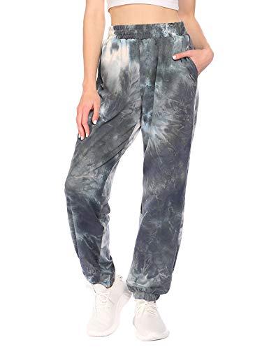 Balancora Damen Jogginghose Warme Leicht Trainingshose mit Taschen Sporthose Cotton Freizeithose für Hip-pop Fitness Outdoor Tie Dye XL
