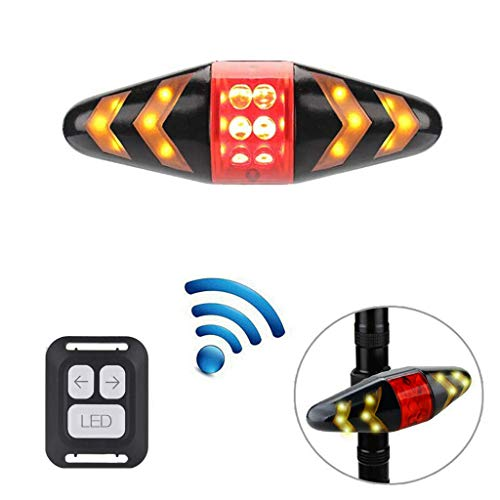 USB Rechargeable Bike TailLight with Turn Signals, Wireless Remote Control Waterproof Ultra Bright LED Safety Warning Rear Lights,11 in 4 Modes for Mountain Bike Road Bicycle (Black)