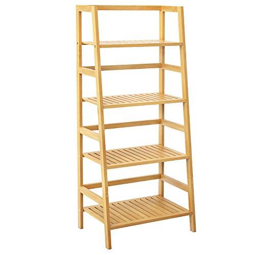 Girapow Ladder Shelves, 4-Tier Bamboo Free Standing Floor Bookshelf Bookcase Plant Flower Display Shelf Stand Utility Storage Rack for Balcony Living Room Bathroom Kitchen Bedroom Garden, Natural