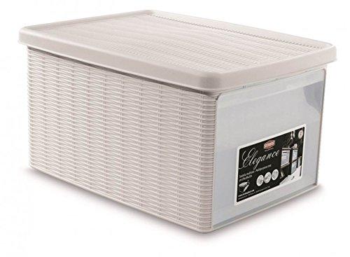 Kreher Aufbewahrungsbox im Rattan Design mit Deckel und Klappdeckel, B 29 x L 39 x H 21 cm, Farbe weiß
