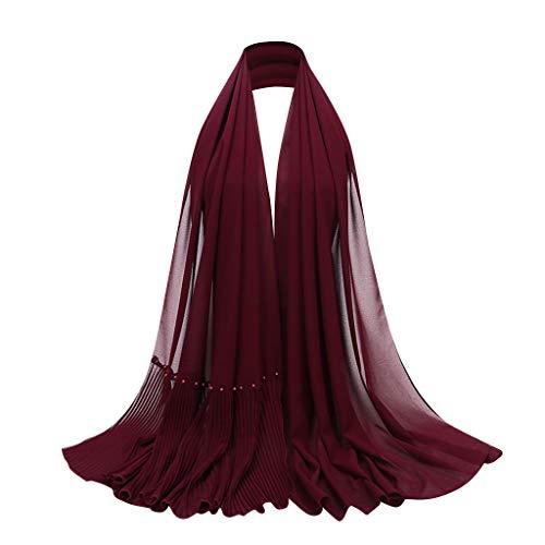 Deloito Frauen Muslim Hijab Amira Kopftuch Ethnische Wind Halstuch Maxi Crinkle Plissee Kopftuch Islamischer Chiffon Turban Schal (Weinrot)