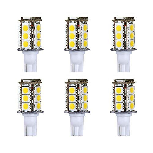 Makergroup T5 T10 Wedge Base LED Light Bulbs High Brightness 12VAC/DC 3Watt Cool White 6000K for Outdoor Landscape Lighting Deck Stair Step Path Lights and Automotive RV Travel Tailer Lights 6-Pack