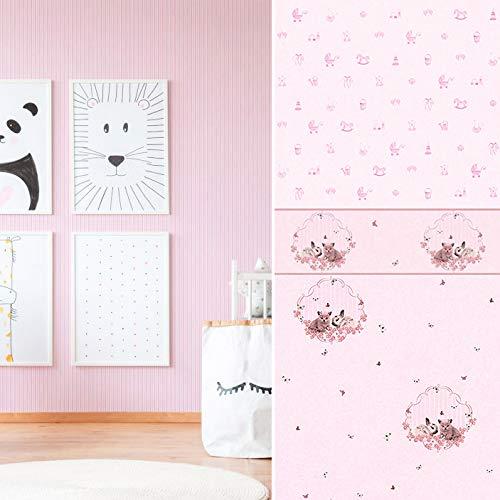 #Milieuvriendelijk 3D vliesbehang PVC-vrij kinderbehang katjes haasjes roze rand kinderkamer wandschilderij behang babykamer fotobehang Made in Germany 5.00 m x 0.13 m Borduursel kat en haas