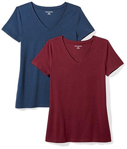 Amazon Essentials Camiseta de manga corta clásico con cuello en V, Mujer, Multicolor (Granate/Azul Marino), XS, pack de 2