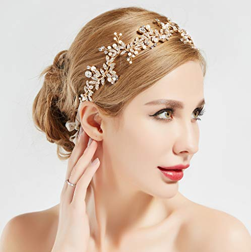 BABEYOND Crystal Wedding Headpiece Hair Vine Bridal Headband Bridesmaid Hairband Crystal Floral Leaf Forehead Band with Lace Ribbon (Gold)