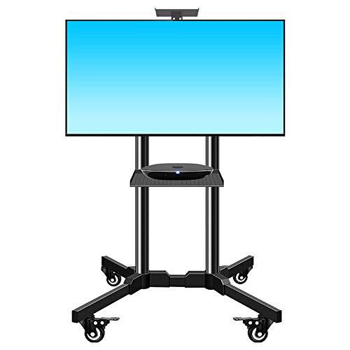 Daily Equipment Soporte para TV Soporte de altura ajustable inclinable y giratorio Soporte portátil con ruedas Bandeja audiovisual para cámara para 32 televisores LCD LED de plasma y curvos planos