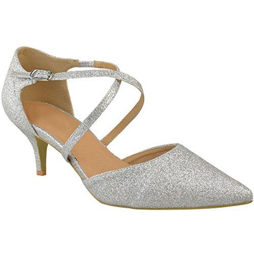Fashion Thirsty Damen Pumps mit Kitten Heels & Riemen - Silberfarben Glitzer - EUR 37