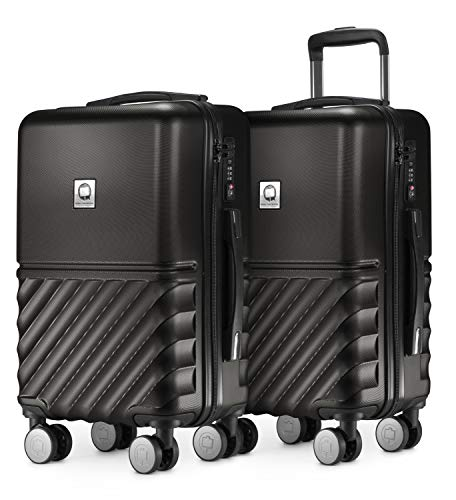 HAUPTSTADTKOFFER - Boxi - 2er Handgepäck Kofferset Bordgepäck Cabin Size Koffer 55cm, ABS-Hartschale TSA, 4 Spinner-Doppelrollen, Schwarz